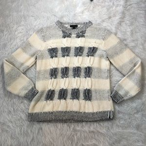 J. Crew Marled Cable Knit Striped Sweater
